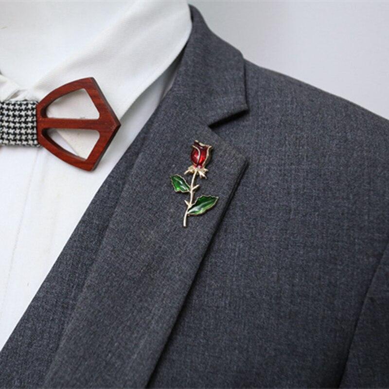 DoreenBeads, broches de moda para hombres, joyería esmaltada, estilo de flor rosa, accesorios de traje de la mejor calidad, 1 pieza