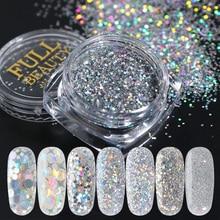8pcs Gradient Shiny Nail Glitter Set Laser Sparkly Silver Holographic 3D Sequins Nail Art Chrome Powder Manicure Decor JI1506-12