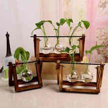 Economical 1pc Glass Flower Pot Transparent Plant Terrarium Glass Vase with Wooden Stand for Home Decoration ds99