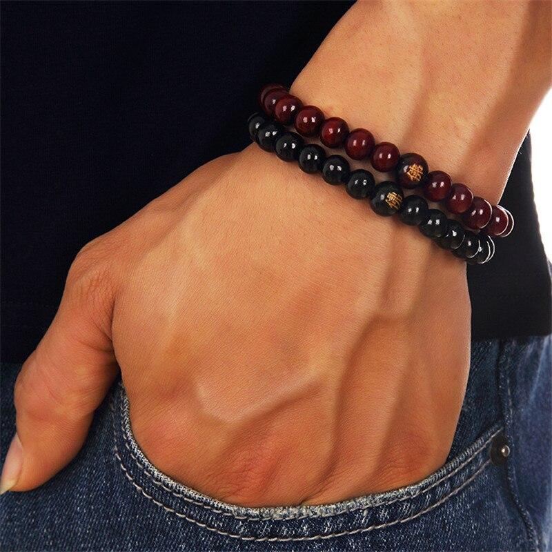 Mode naturel en bois perlé racine Chakra bijoux et Hip Hop perle Bracelet bouddha mot bijoux pour hommes femmes cadeau vente spéciale nouveau