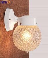 IWHD מודרני מנורות קיר ברזל פמוט זכוכית כדור עמיד למים חצר מרפסת מעבר אורות LED קיר אור Arandela Para פארדה