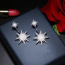 Boucles doreilles entièrement en Zircon pour femmes, grande étoile, forme élégante et luxueuse, à la mode