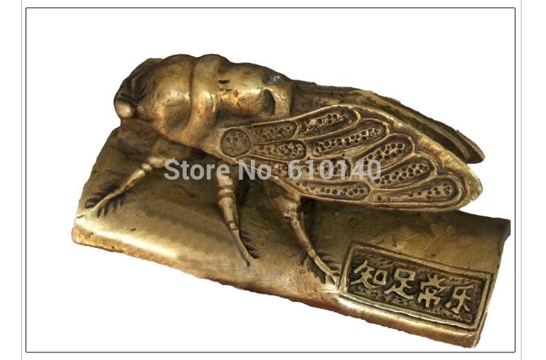 Examen esencial adornos cobre artesanía bambú cigarra blockbuster pisapapeles de regalo escritorio knick Knicks ZHIZ-3745