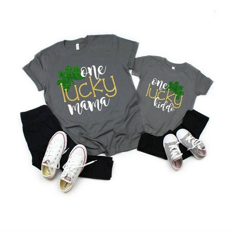 Mother Daughter Son Outfits Women kids Girl Boy Short Sleeve Tops T-shirt NEW