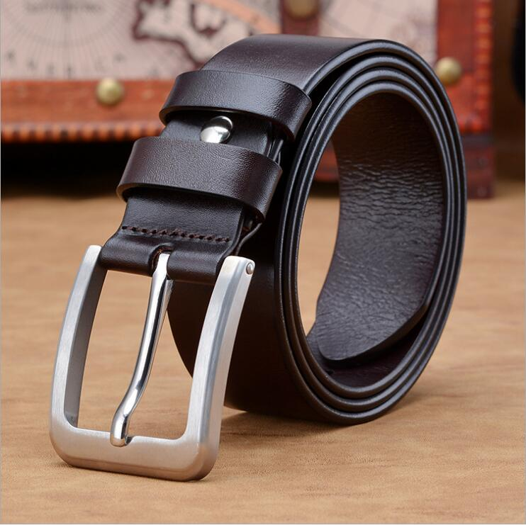 heavy duty airport Men's Full Grain 3.8cm Wide black brown Leather cowboy Bridle Belt with Anti-Scratch Vintage Buckle