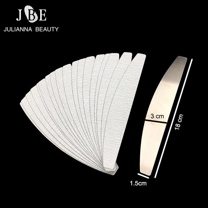 50 Uds #100/#180 reemplazo de papel de arena desmontable para uñas de acero inoxidable de doble cara de media luna herramienta de belleza