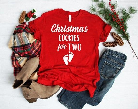 Galletas de Navidad para dos camiseta Navidad anuncio Feliz Navidad vacaciones rojo...