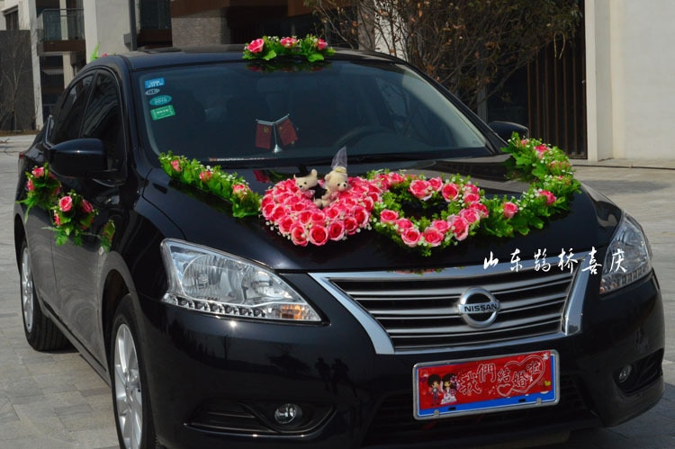 Artificial Silk Rose Flowers Wedding Car Decoration Set With Double Hearts 2017 New Wholesale