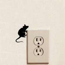 Vif Rat souris motif Cool interrupteur autocollant fou style décalcomanies amovible décoration de la maison autocollant mural 2WS0400