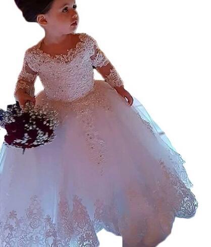3/4 Sleeves 2019 Flower Girl Dresses For Weddings Ball Gown Tulle Appliques Beaded Long First Communion Dresses For Little Girls