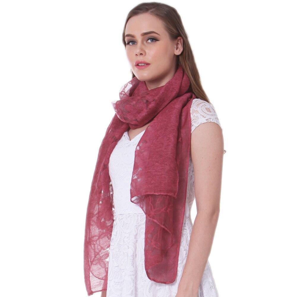 Fashion Silk Scarf Spring Summer Wrap Autumn Winter Shawl Hijab Stole foulard Top Quality Soft Floral Transparent Wine Burgundy