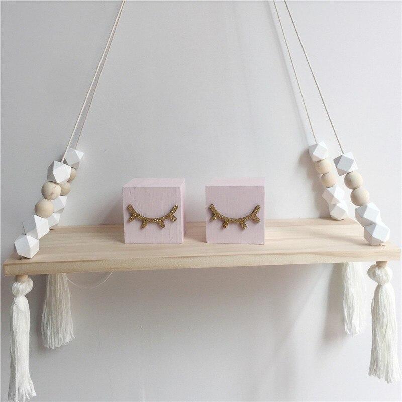 Nordic Style Wooden Bead Tassels Storage Rack Wall Rope Hanging Shelf Bedroom Living Room Kitchen Office Decor Holder #XTN