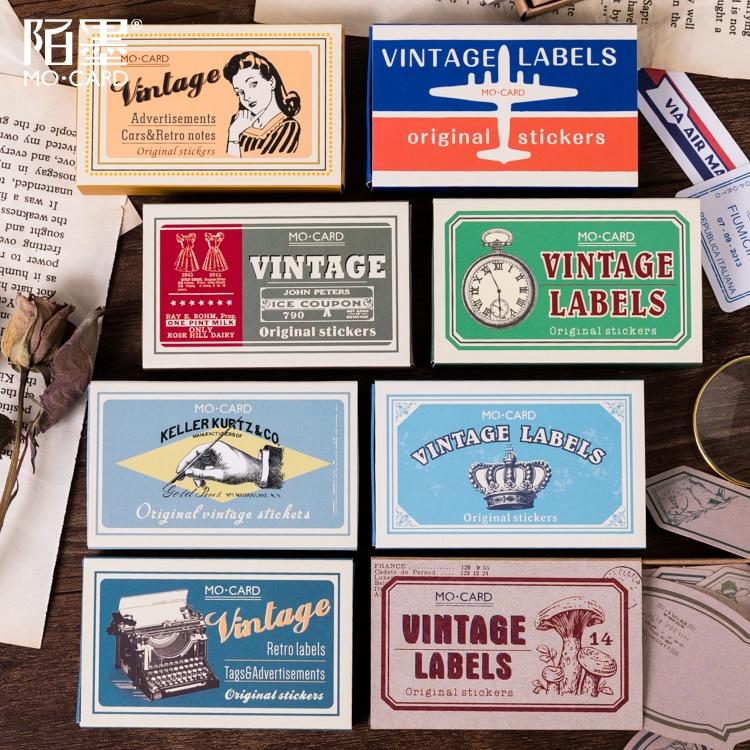 60 unids/caja Vintage chica/Carta de correo aéreo/cartel de supermercado/etiqueta de borde/billete/etiqueta decorativa pegatina DIY álbum de recortes diario pegatina