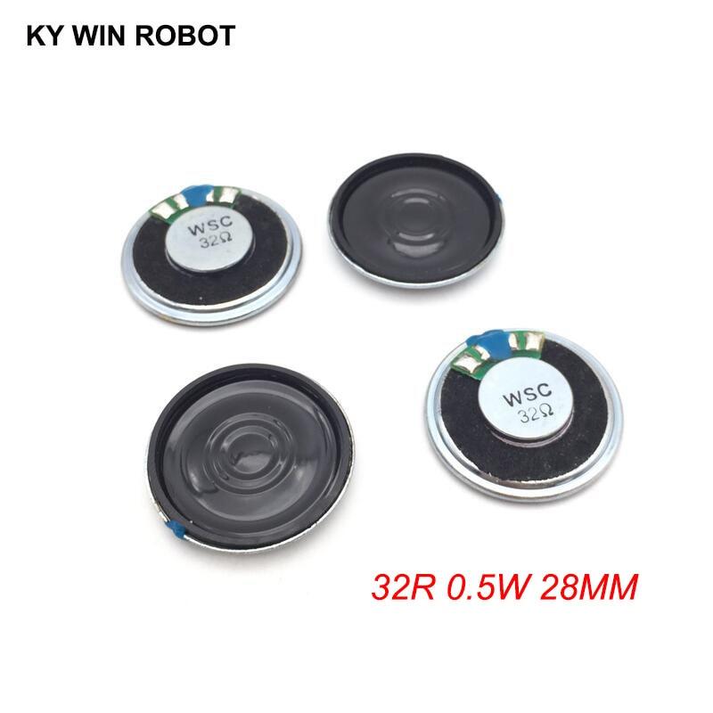 5 unids/lote nuevo Mini altavoz ultradelgado 32 ohmios 0,5 vatios 0,5 W 32R diámetro del altavoz 28MM 2,8 CM espesor 5MM