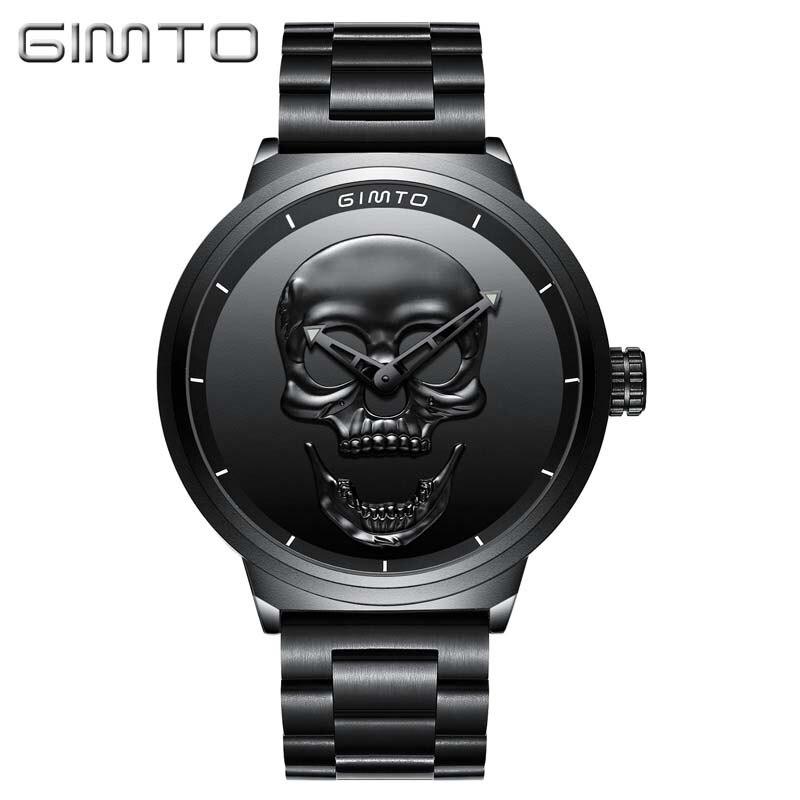 Cráneo Diseño Reloj de Los Hombres Relojes Masculinos Únicos GIMTO Luxury Brand Cuarzo de los Deportes de Acero Reloj de Los Hombres relogio masculino