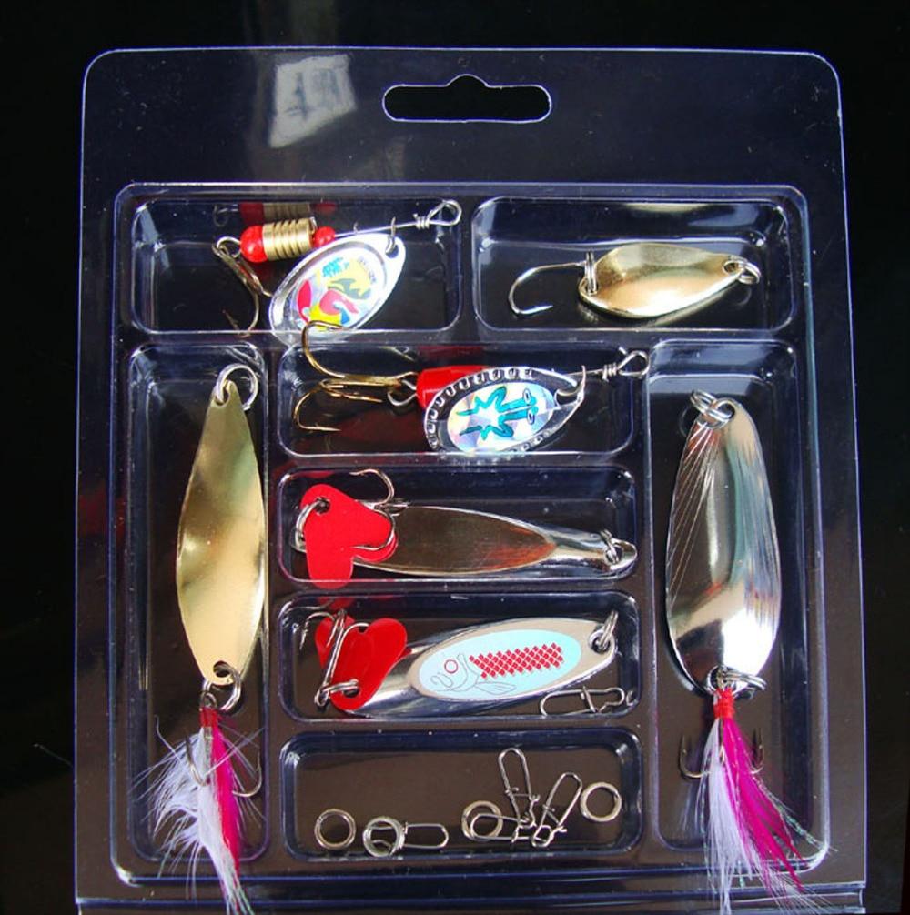7PCS Mix Fish Spoon Lure Feather Hook Fishing Bait box enlarge