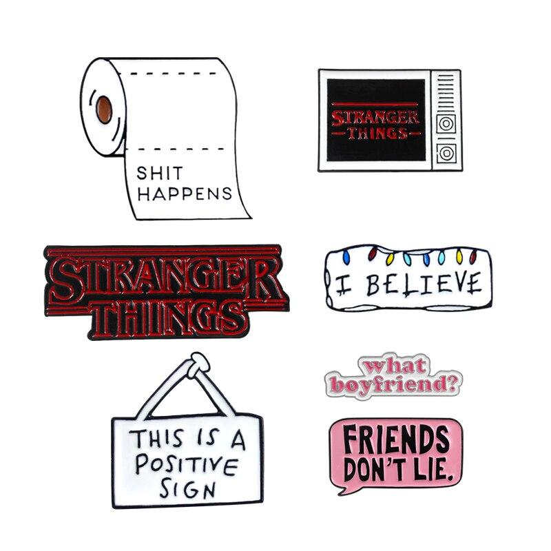 Брошь в виде туалетной бумаги, с надписью «I BELIEVE diagnoence», с эмалированной застежкой, с надписью «STRANGER THINGS», в стиле «панк»