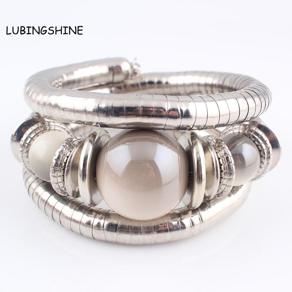 LUBINGSHINE богемский серебряный цвет браслет-цепочка со змеиным узором Mujer Pulsera большие круглые керамические браслеты с бусинами браслеты для женщин