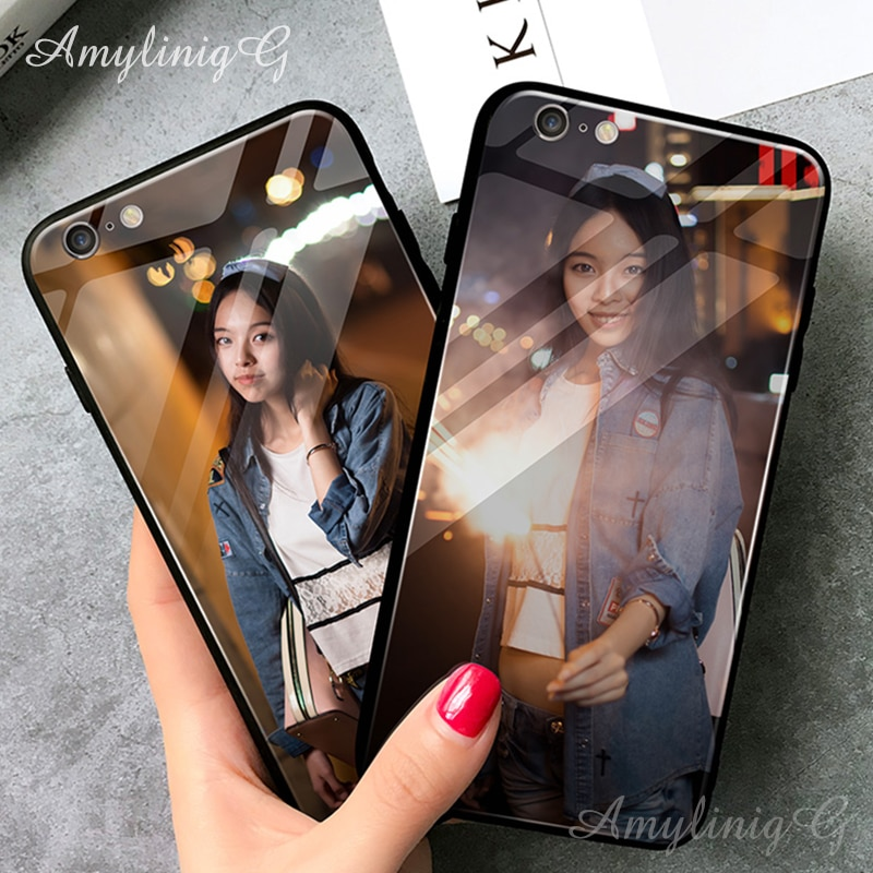 DIY Angepasst Glas Telefon Fall Für Huawei P20 Lite V10 V20 Mate 20 Lite Ehre 7X 8X 10 Y7 Y9 2018 Y9 2019 Abdeckung Foto Name