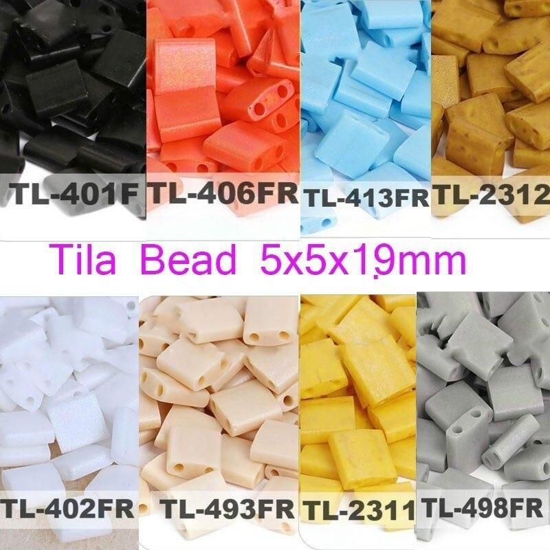 Taidian Miyuki Tila Seedbeads для самостоятельного изготовления ювелирных браслетов, 2 отверстия 5*5*1,9 мм 3/5 г/лот