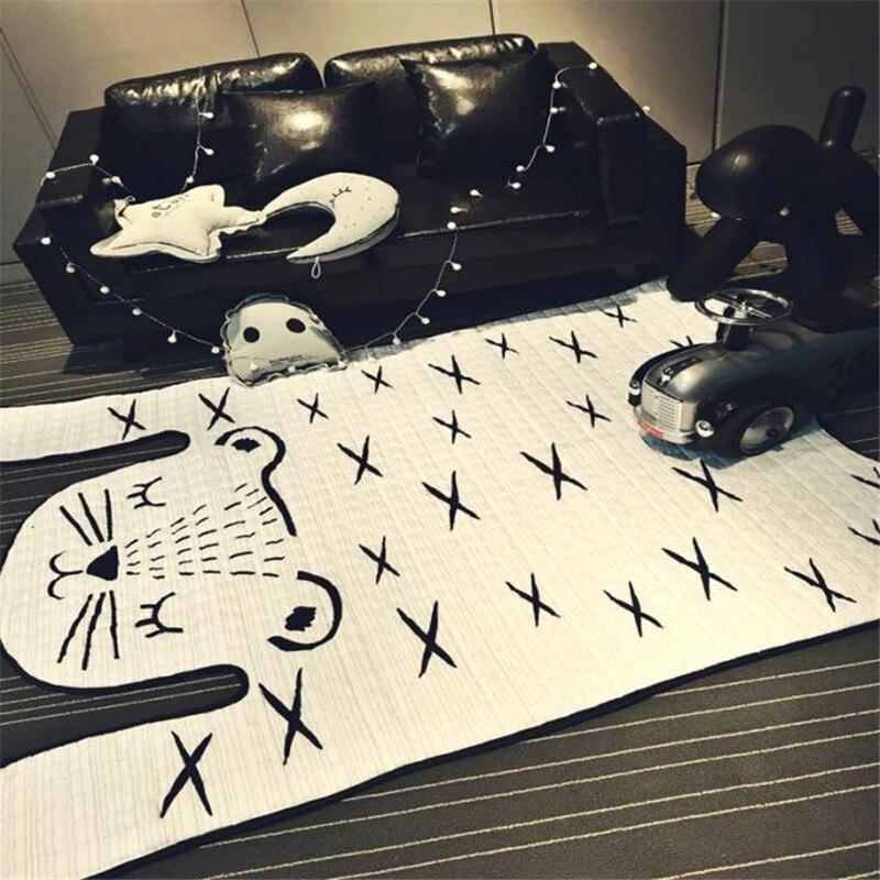 Ковер в скандинавском стиле 130*185 см, серый хлопковый и полиэстеровый коврик для гостиной, домашний мультяшный коврик