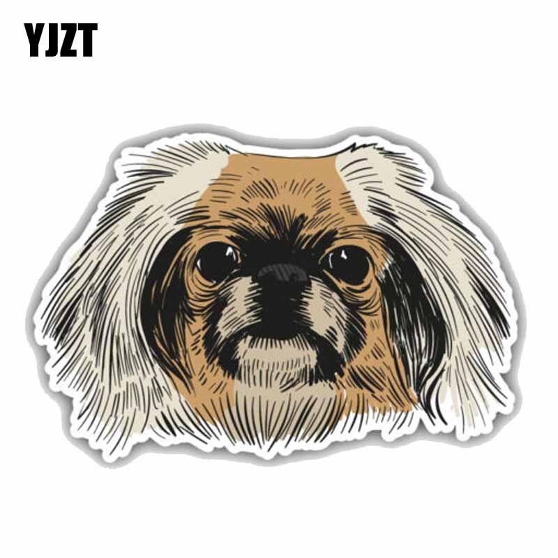 YJZT 18,4 CMx 12,5 CM Fashion Lustige Pekingese Hund Kopf Auto Den Ganzen Körper PVC Auto Aufkleber C1-9019