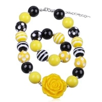 wholesale girls necklace set children yellow resin rose flower chunky necklace bracelet set kids necklace jewelry set