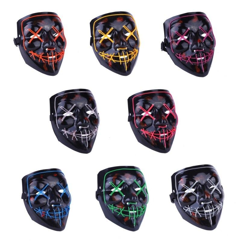Хэллоуин СВЕТОДИОДНЫЙ черный маска освещает годовой тренд интересные маски маскарадные костюмы новая эпоха гетерогенных подвигов