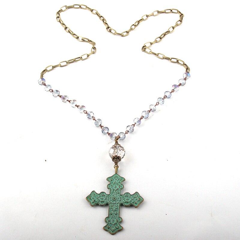 MOODPC joyería de moda Multi azul cristal Rosario cadena bronce cadena Metal Cruz colgante collares mujeres collar étnico