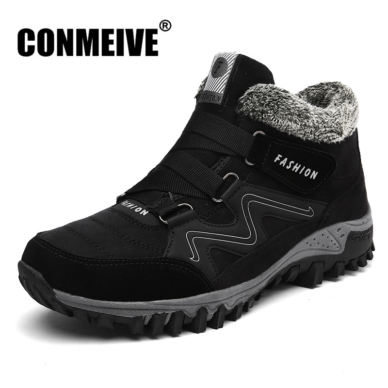 Botines cálidos de invierno para exteriores antideslizantes para hombre, botas de nieve de felpa cálidas, botas casuales Unisex de marca de lujo a la moda, talla 36-46