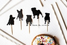 Silhouet Hond Cupcake Toppers//Pug custom hond ras bruiloft huisdier Verjaardagen baby shower Party treat voedsel picks photo booth prop