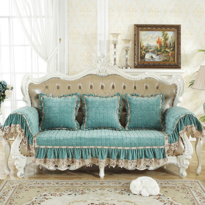 2019 nowy niebieski kratę pluszowe pokrowiec na sofę z tkaniny miękkie antypoślizgowa Slipcover siedzenia narzuta na sofę Sofa ręcznik do salonu wystrój