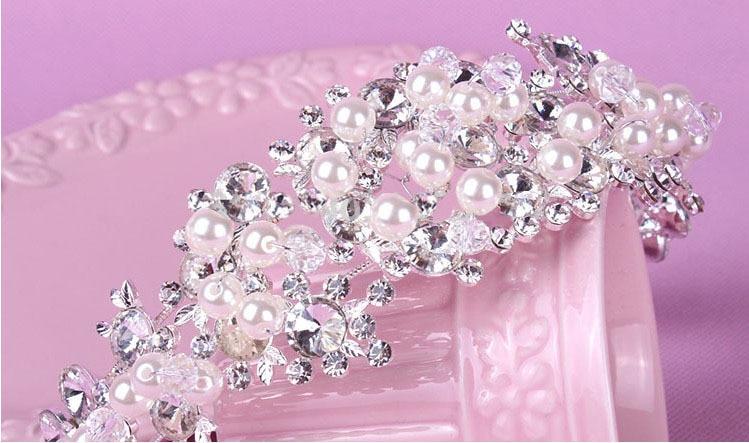 Diadema nupcial de cristal con perlas y diamantes de imitación, diademas para...