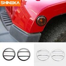 SHINEKA ABS 자동차 스타일링 외부 휠 눈썹 차례 신호 빛 커버 장식 트림 스티커 지프 랭글러에 대 한 JK 2007-2017