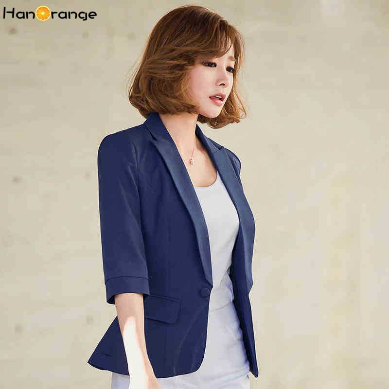 HanOrange Slim 3 Quarter Sleeve Women Blazer Solid Color Single Button Pocket Jacket Plus Size