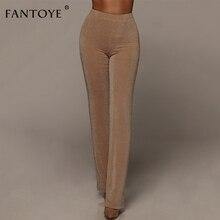 Fantoye Sparkling Khaki Pants Women High Waist Skinny Elastic Nightclub Wear Push Up Long Female Pencil Pants Trousers