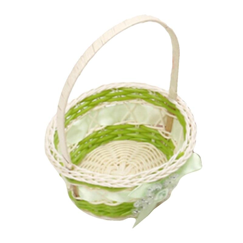 Mini cesta de almacenamiento de plástico de tejer simula la caja de almacenamiento de mimbre de frutas para cosméticos organizador de cesta de Picnic de té