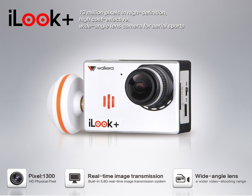 Envío Gratis Cámara original Walkera RC 13MP iLook + FPV Drone cámara para QR X350 Pro Walkera TALI H500/G-3D cardán de G-2D