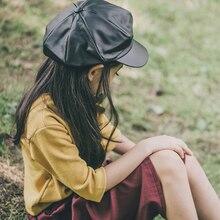 Bonés de boina de couro liso bebê meninos meninas do vintage artista pintor octogonal newsboy bonés sólidos outono inverno chapéus preto vermelho