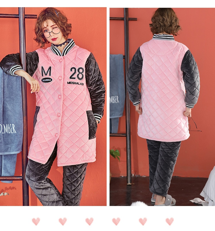 Autumn and winter months clothes thicker laminated cotton loose comfortable mid-length pregnant women out of home service suits enlarge