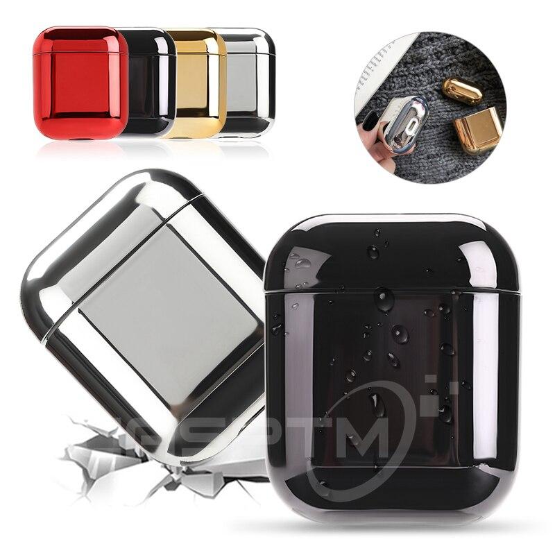 Para funda de AirPods chapado en oro de lujo cubierta dura Bluetooth inalámbrico auricular caso para iPhone auriculares Air Pods 2ª caja de carga