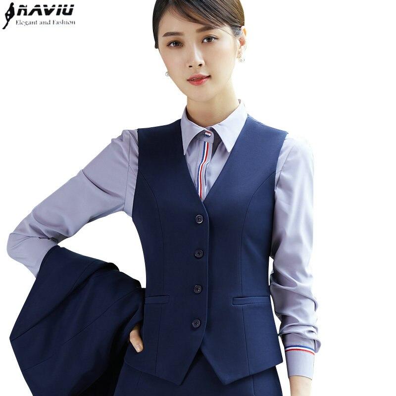 Moda carreira de negócios mulheres topos trabalho vestir uniformes magro decote em v formal escritório senhoras colete para roupas verão