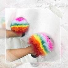 Real Fox Slippers Kids Winter Fur Home Slides Girl Flop Flips Raccoon Fluffy Cute Flats Beach Summer Children Boys Shoes Sandals