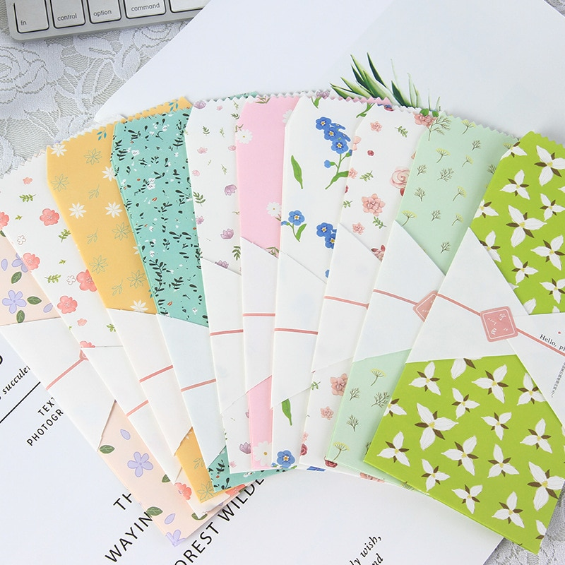 50pcs lot mdd1752 mdd3752 to 252 50pcs/lot Flower plant envelope writing paper stationery kawaii birthday christmas cpostcard Gift cards to friends