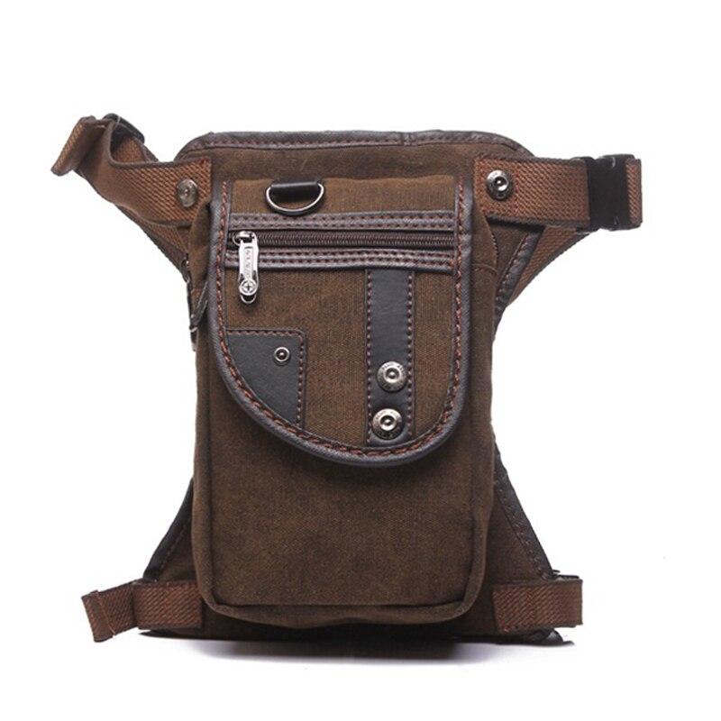 Men Canvas Leg Bag Motorcycle Rider Tactical Military Belt Waist Fanny Pack Bags