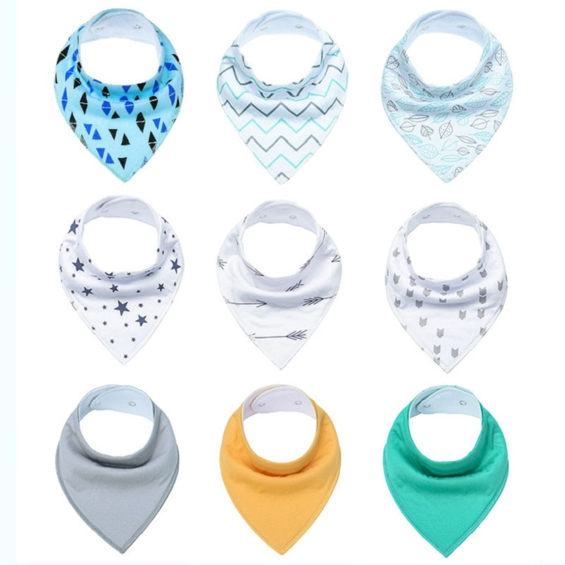 9-pack/lote unissex babadores de bebê ajustável snops absorvente 100% algodão bandana babadores para droaling dentição recém-nascido conjunto de presente infantil