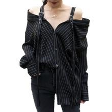 Harajuku Punk gothique épaules nues Blouse hauts 2019 femmes mode coréenne Sexy sans bretelles à manches longues Vinatge rayé Kpop chemises