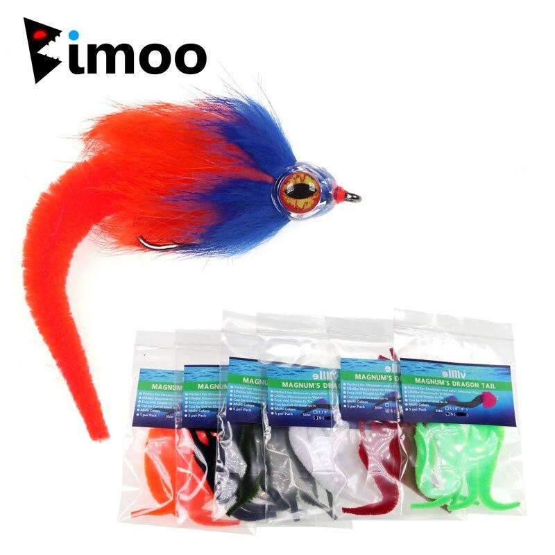 Bimoo 5 unids/pack versión pequeña Mangum es Original de la cola del Dragón Streamer para Pike Musky volar agua salada moscas Señuelos de pesca con mosca 9cm