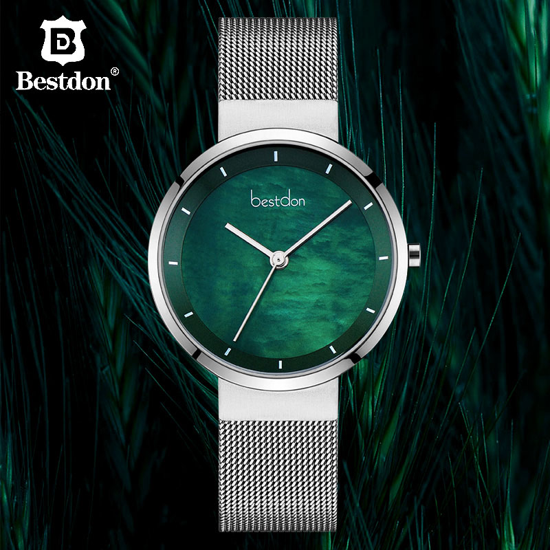Bestdon Starry Sky Green Women Watches Luxury Brand Simple Quartz Woman Watch Silver Stainless Steel Relogio Masculino 2019 New