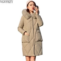 plus size 90 white duck down jacket female fox fur collar hooded women down jackets 2018 new woman thick warm long down coat